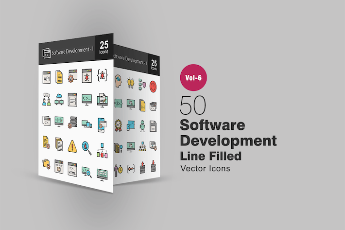 Thumbnail for 50 Software Development Filled Line Icons
