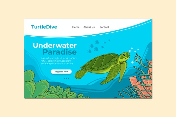 Thumbnail for Underwater Paradise Landing Page Illustration