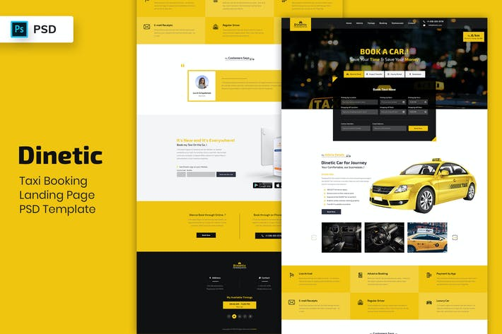 Thumbnail for Taxi Booking - Landing Page PSD Template