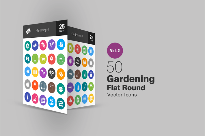 Thumbnail for 50 Gardening Flat Round Icons