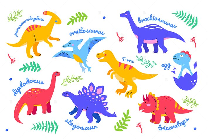 Different dinosaurs - flat design style characters