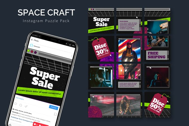 Space Craft - Instagram Puzzle Template