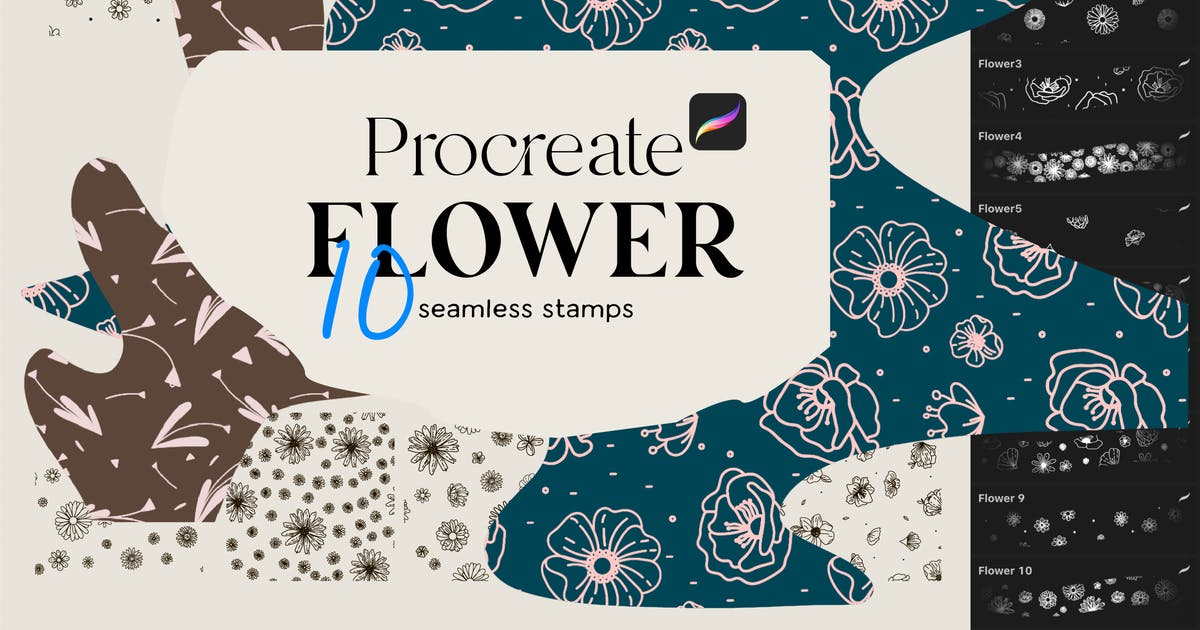 Download 10 Flowers stamps for Procreate by a_slowik