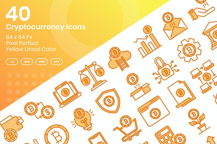 Thumbnail for 40 Íconos de criptomonedas - Color Lineal Amarillo