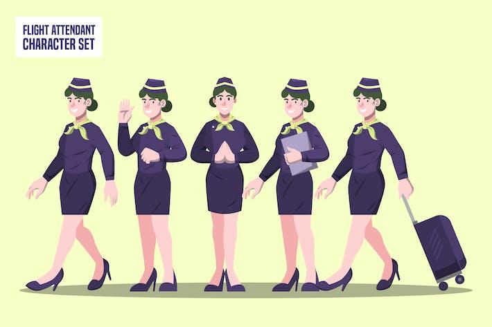 Стюардесса - Иллюстрация набора символов