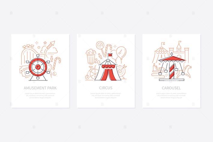 Thumbnail for Funfair concept - line design style banners set
