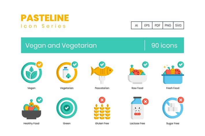 90 Vegan and Vegetarian Icons - Pasteline Series