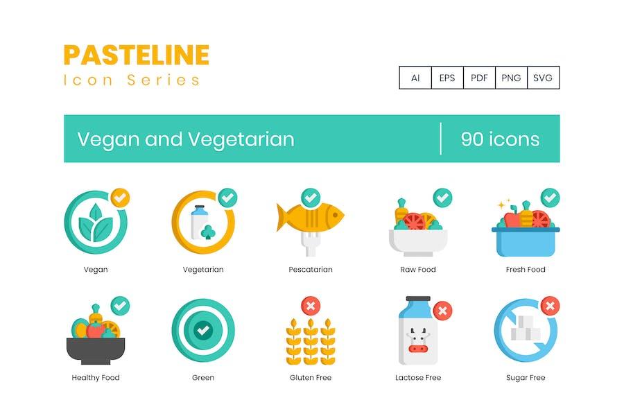 90 Vegane und vegetarische Icons - Pasteline Series