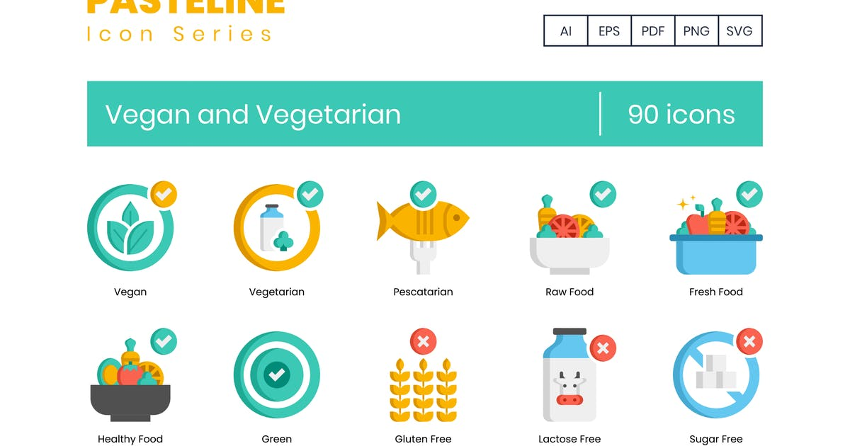 Download 90 Vegan and Vegetarian Icons - Pasteline Series by Krafted