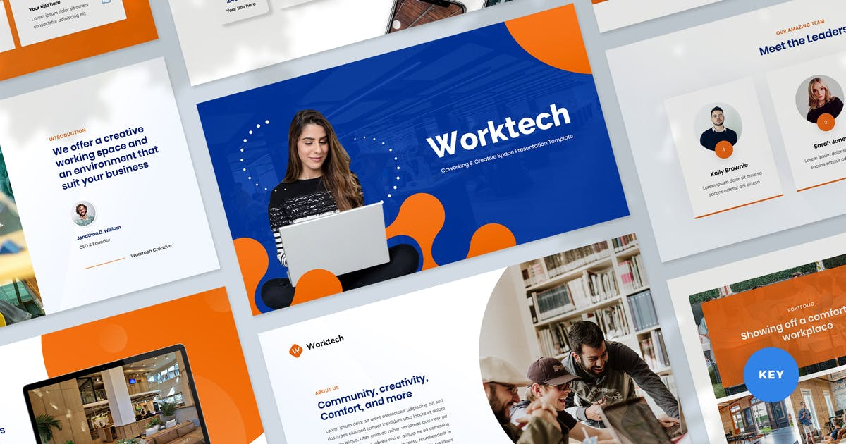 Download Worktech - Coworking Space Presentation Templates by Krafted