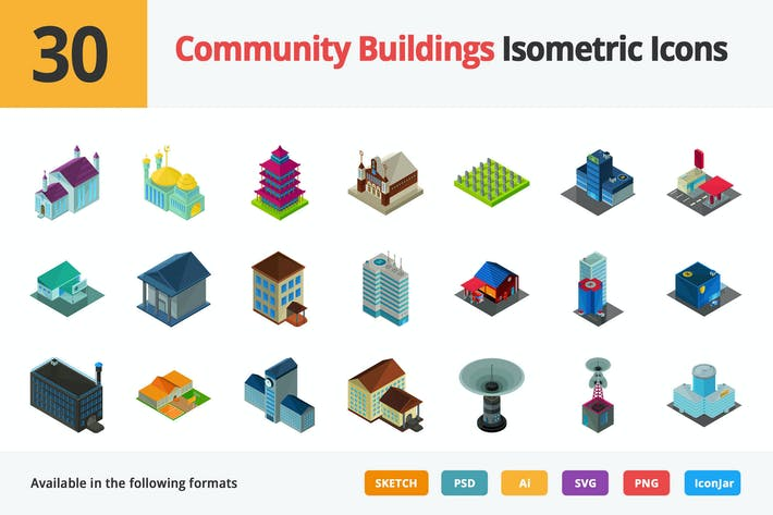 Thumbnail for Community Buildings Vector Isometric Icons