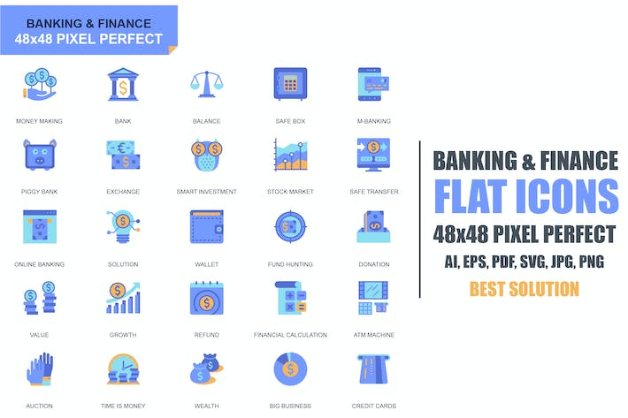 Thumbnail for Simple Set Banking and Finance Flat Icons