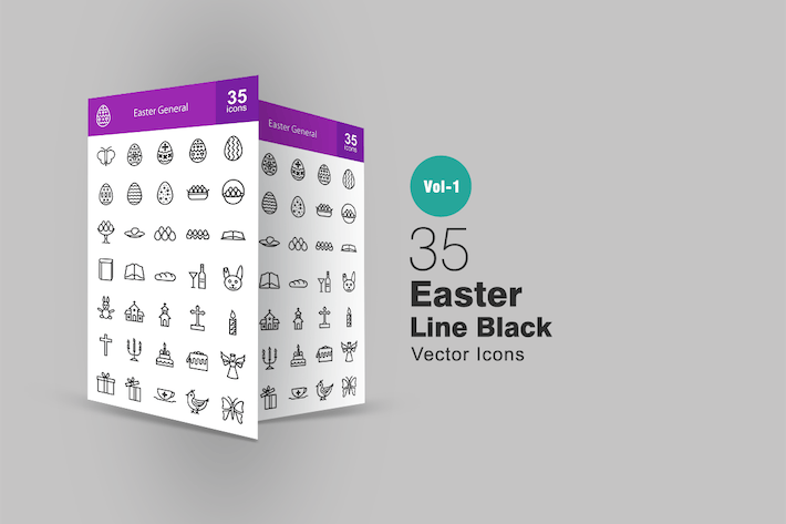 Thumbnail for 35 Easter Line Icons