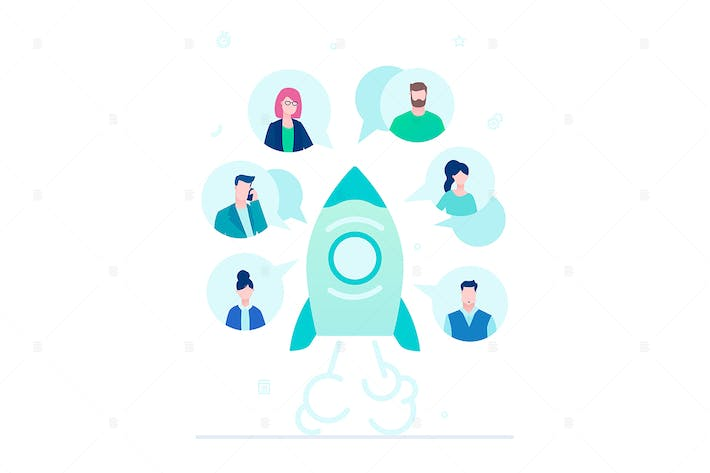 Thumbnail for Startup team - flat design style illustration