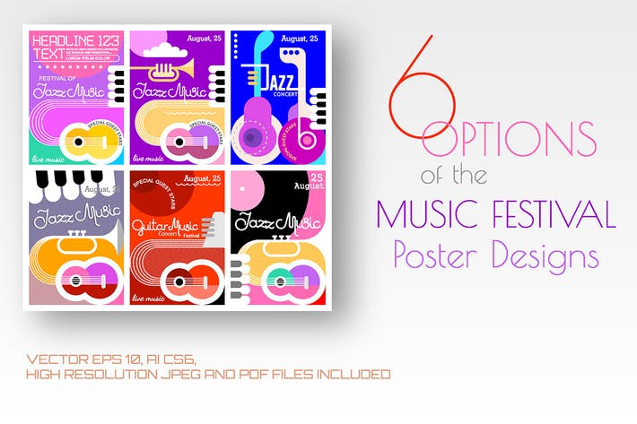 Cover Image For 6 options of the Music Festival poster designs