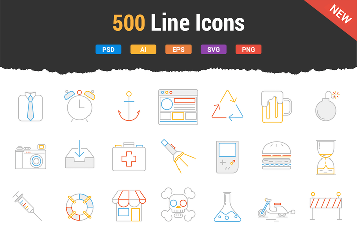Thumbnail for 500 Outstanding Line Icons