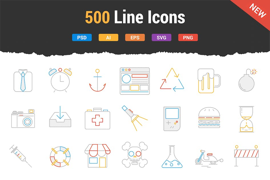 Download 500 Outstanding Line Icons by Krafted