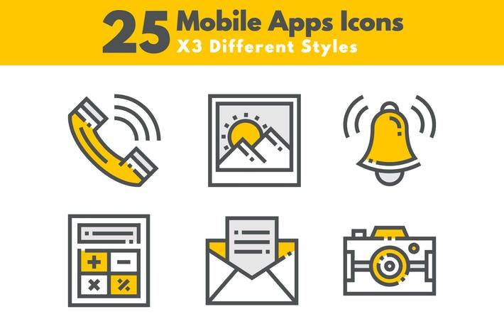 Thumbnail for 25 Mobile Apps Icons