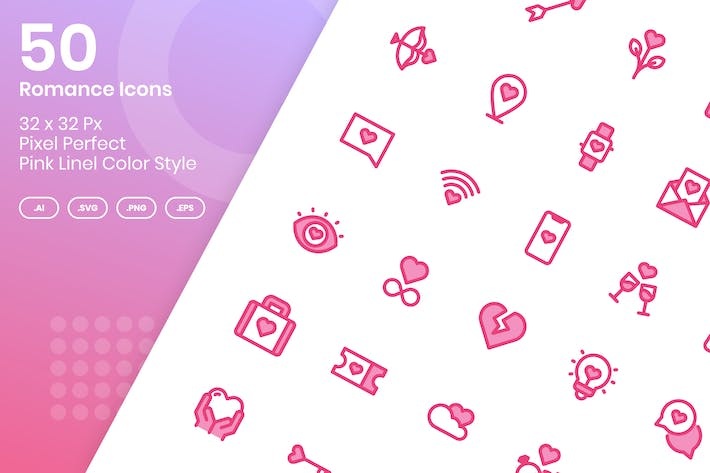 Thumbnail for 50 Romantische Icons Set - Rosa Lineal Farbe