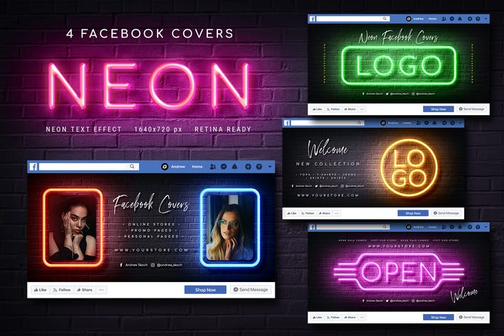Thumbnail for Neon Facebook Covers