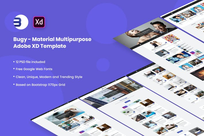 Thumbnail for Buggy - Material Blog Adobe XD Template