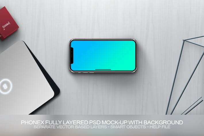PhoneX Layered PSD Mock-Up with Background