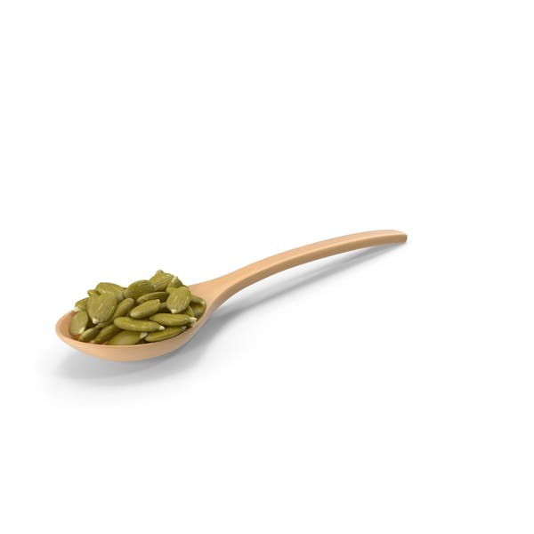 Wooden Spoon with Peeled Pumpkin Seeds