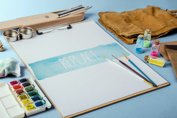 Thumbnail for Watercolor Paint Mockup Pack #1