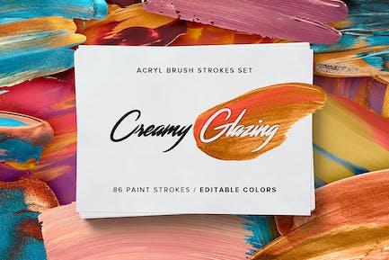 Cremige Glasur - Acrylpinselstriche