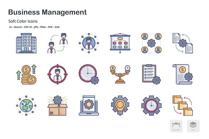 Thumbnail for Business management thin outline icons