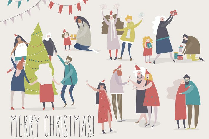 Thumbnail for Happy people celebrate Christmas. Joyful emotions.