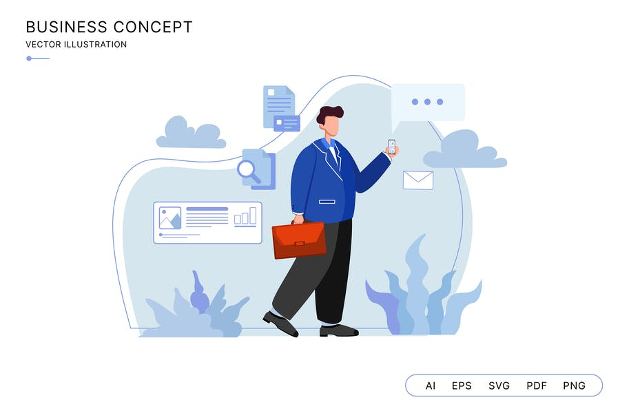 Business man working with his phone illustration