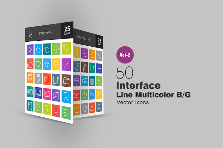 Thumbnail for 50 Interface Line Multicolor Icons