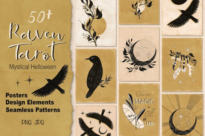Thumbnail for Raven TArot Mystical Halloween