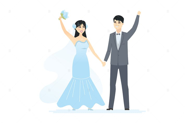 Thumbnail for Newly married Chinese couple - illustration