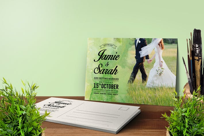 Cover Image For Watercolor Wedding Invitation