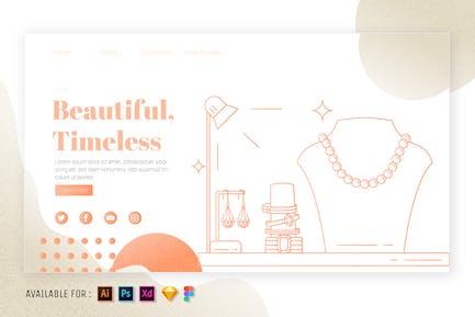 Jewelry Display - Web Outline Illustration