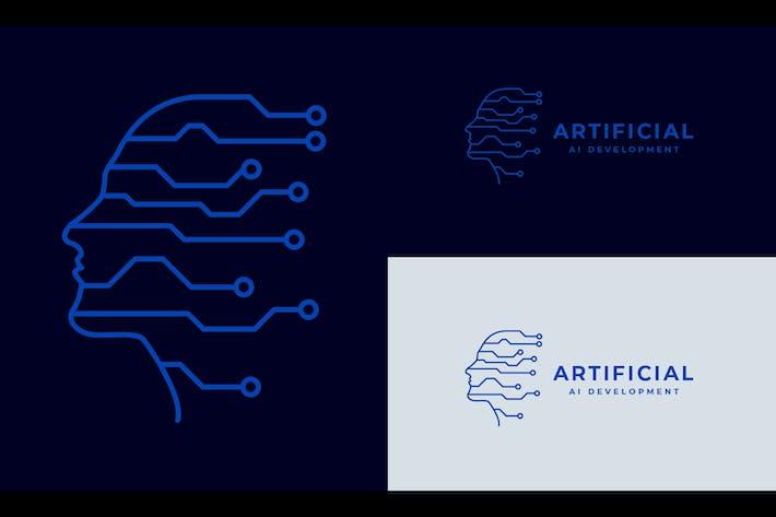 Human Brain intelligence and Circuit Symbol Logo
