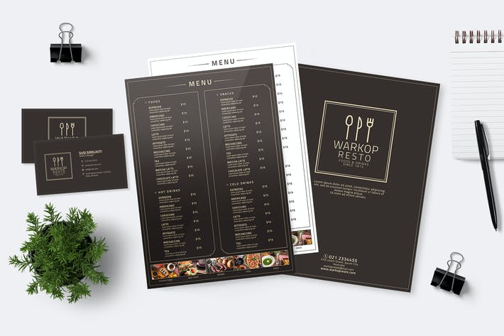 Thumbnail for Minimalist Food Menu & Business Card