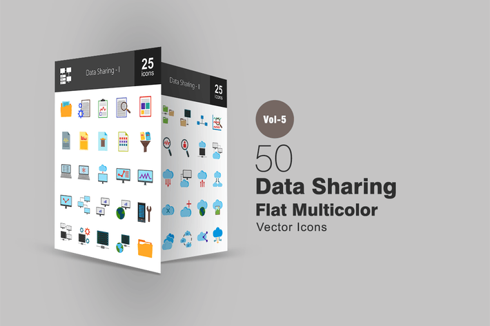 Thumbnail for 50 Data Sharing Flat Multicolor Icons