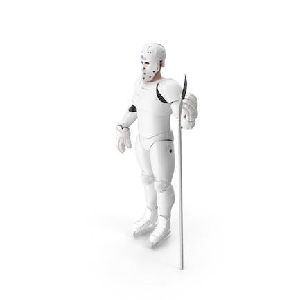 Humanoid Hockeyspieler mit Stock Weiß
