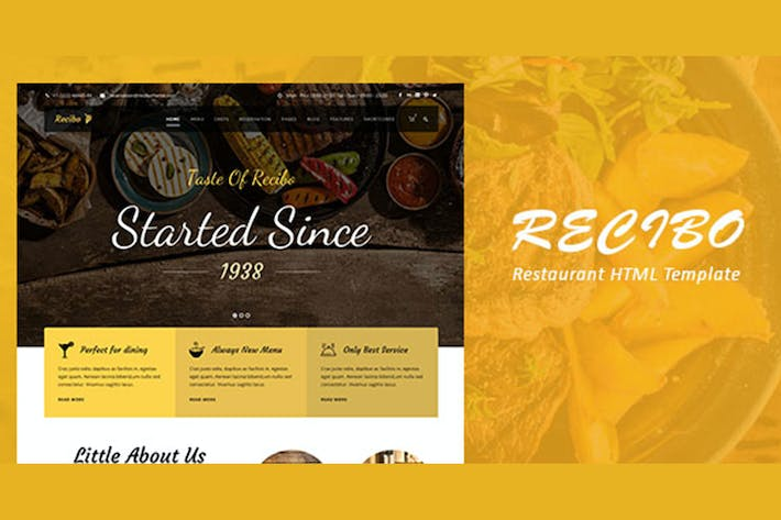 Thumbnail for Recibo - Restaurant / Food HTML Template