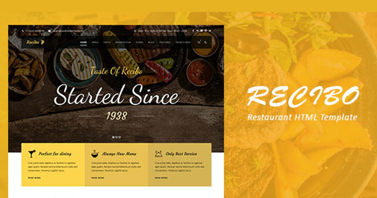 Download Recibo - Restaurant / Food HTML Template by max-themes