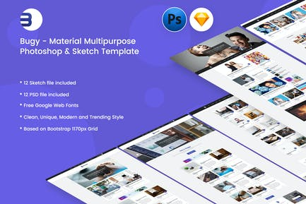 Buggy - Material Blog PSD & Sketch Template