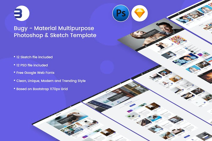 Thumbnail for Buggy - Material Blog PSD & Sketch Template
