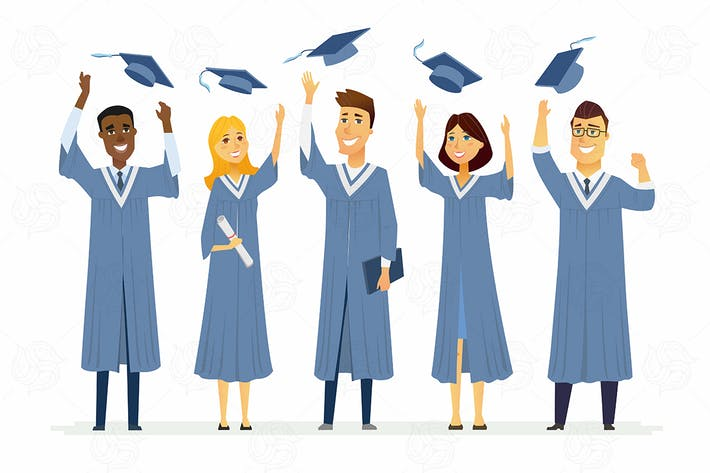 Thumbnail for Happy graduating students - vector illustration