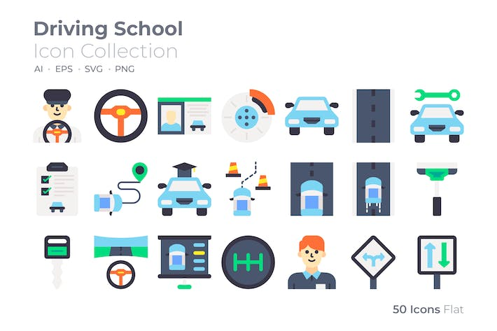Driving School Color Icon