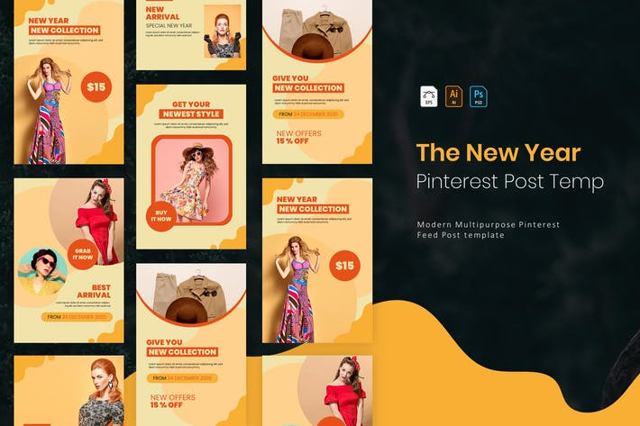 Thumbnail for New Year Collection | Pinterest Post Template