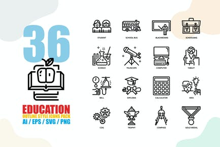 Education Outline Style Icon set