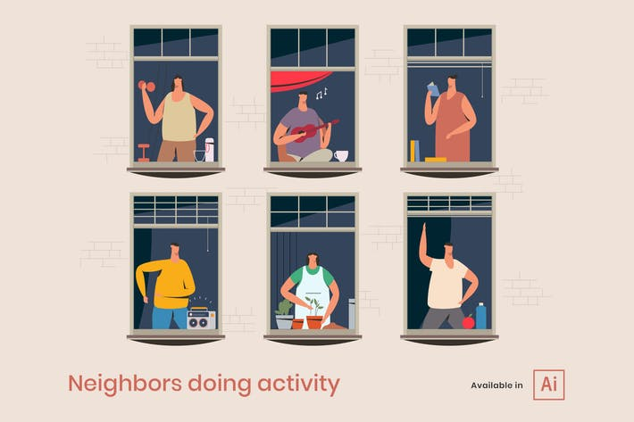 Thumbnail for Windows with neighbors doing daily activity